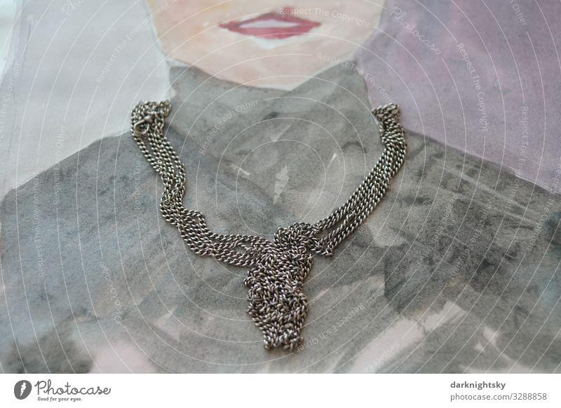 Schmuck Portrait Collage elegant Stil Design Körper Mode Mensch feminin Frau Erwachsene Mund 30-45 Jahre leuchten Armut ästhetisch dunkel trist grau Tugend