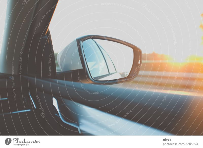 Aussenspiegel bei Sonnenuntergang Ferien & Urlaub & Reisen Ausflug Abenteuer Ferne Freiheit Technik & Technologie Natur Horizont Sonnenaufgang Sonnenlicht