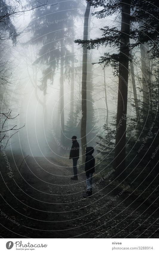 Vater und Sohn im nebligen Wald Ausflug Abenteuer Winter Mensch maskulin Kind Junge Erwachsene Kindheit Leben 2 Umwelt Natur Wetter Nebel Baum Wege & Pfade