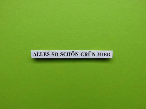 ALLES SO SCHÖN GRÜN HIER Schriftzeichen Schilder & Markierungen Kommunizieren natürlich grün schwarz weiß Gefühle Stimmung Erholung Farbe Freizeit & Hobby Natur