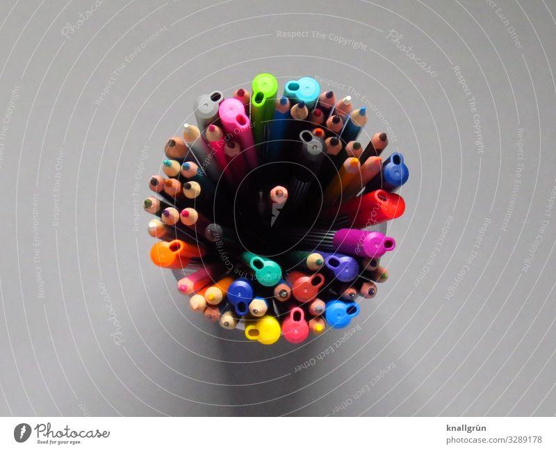 Im Mittelpunkt stehen Farbstift Filzstift Zeichenstift zeichnen schreiben Zusammensein rund mehrfarbig grau Farbe Freizeit & Hobby Idee Inspiration
