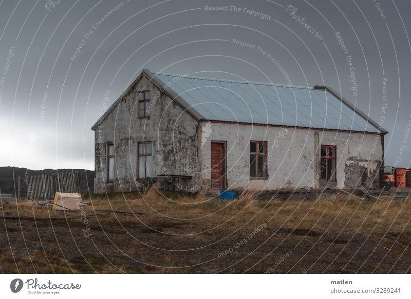 Haus am Fjord Natur blau grün rot Fenster dunkel Wand Wiese Gras Mauer braun grau Tür Armut Island
