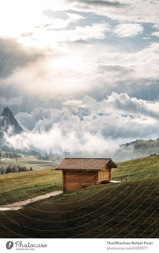 Alpe di Suisi - Seiser-Alm Umwelt Natur Landschaft gelb grün Seiser Alm Sonnenuntergang Wolken Stimmung Hütte Aussicht Berge u. Gebirge Himmel Wiese