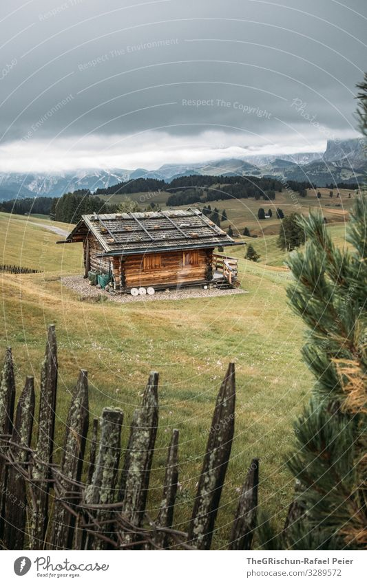 Alpe di Suisi - Seiser-Alm Natur Landschaft alt Zaun Hütte Alpen Seiser Alm Berge u. Gebirge Wolken Nebel Baum Idylle ruhig Wiese Holz Hüttenferien Italien