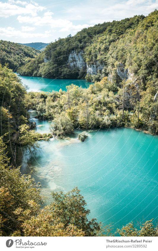 Plitvicer Seen Natur Landschaft blau grün türkis plitvicer seen Kroatien Winnetou Nationalpark Baum Aussicht Ferien & Urlaub & Reisen Tourismus Wald Himmel