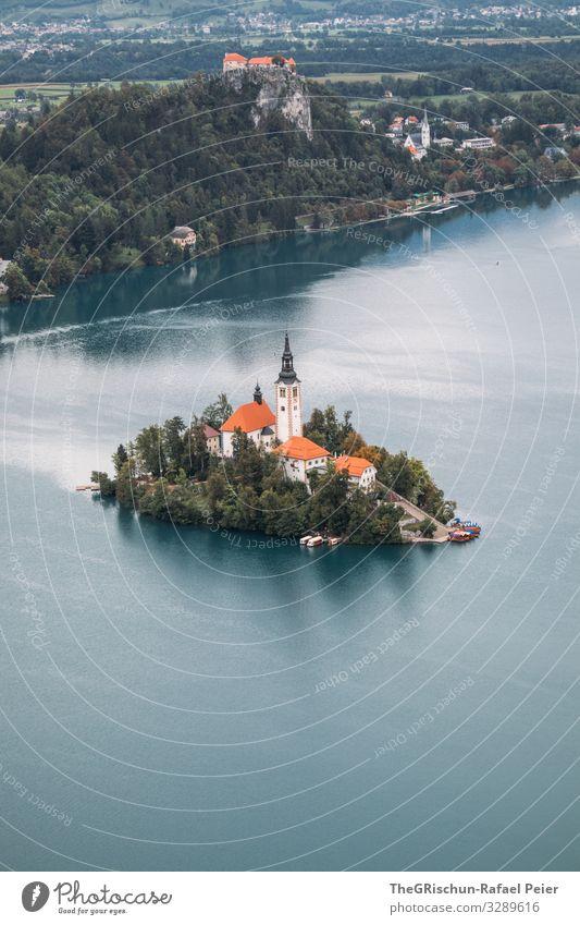 Lake Bled Umwelt Natur blau orange weiß Slowenien Insel lake bled bleder see Reisefotografie Aussicht Schloss Kirche Dach Haus Baum Farbfoto Außenaufnahme
