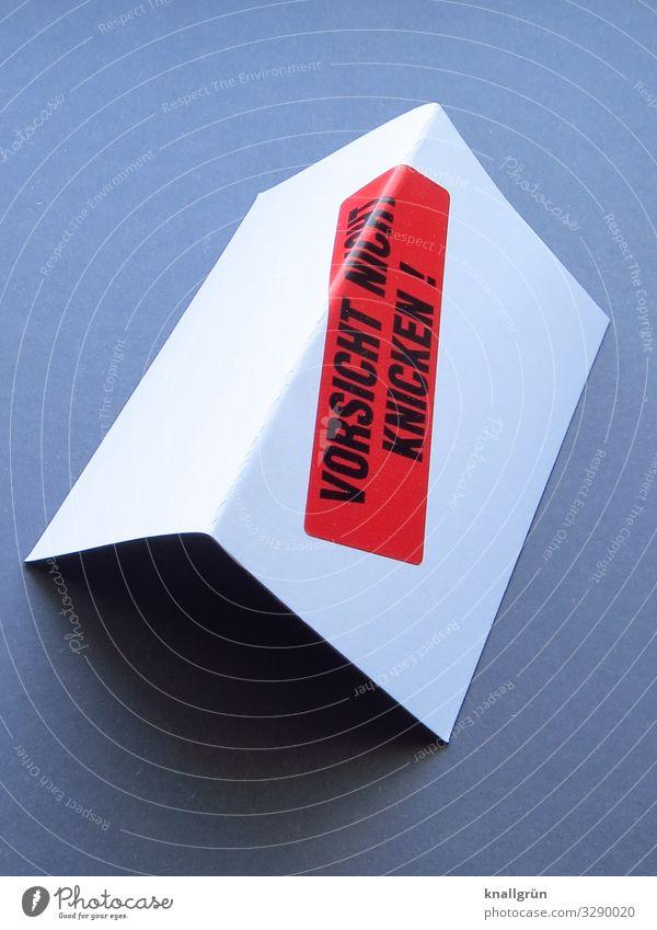 VORSICHT NICHT KNICKEN ! Schriftzeichen Schilder & Markierungen Hinweisschild Warnschild Kommunizieren eckig grau rot schwarz weiß Warnung Karton Etikett Knick