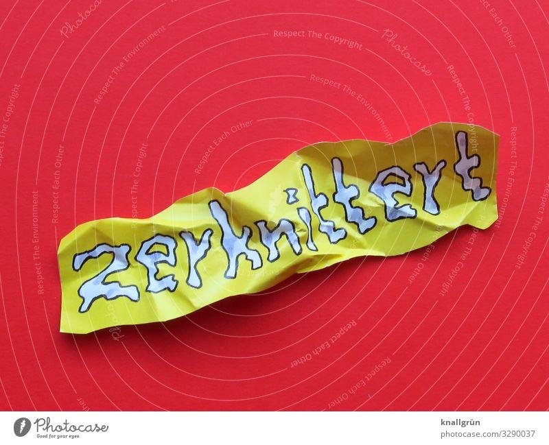 zerknittert weiß rot gelb Gefühle Schriftzeichen Kommunizieren Falte