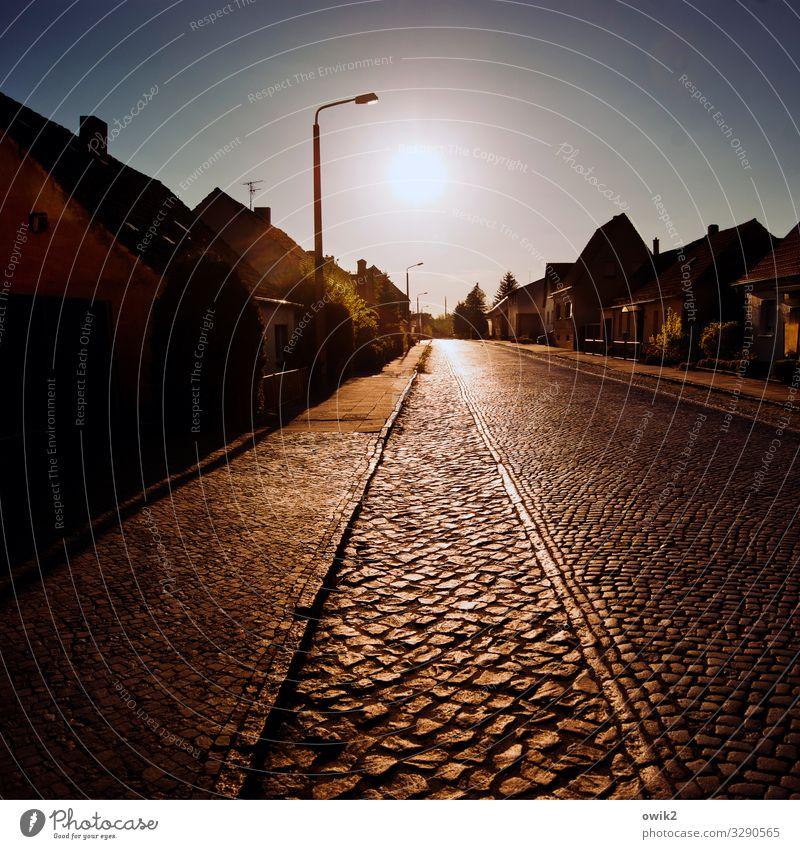 Brandenburger Pflaster Sonne Haus ruhig Ferne Straße Deutschland Verkehr leuchten Sträucher Schönes Wetter Dach Bürgersteig Straßenbeleuchtung Dorf