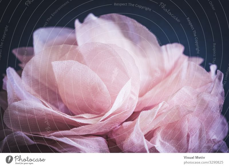 Detail der rosa Blütenblätter einer Rose aus Stoff elegant Design Handarbeit Kunst Kunstwerk Mode Stofffaser Dekoration & Verzierung Sammlung Sammlerstück Liebe