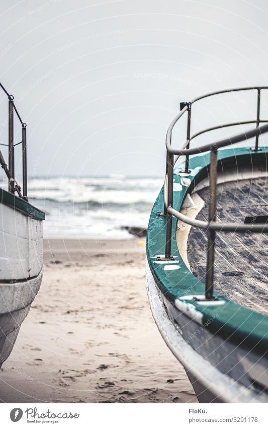 Reling Ferien & Urlaub & Reisen Tourismus Strand Meer Sand Wasser Küste Nordsee Schifffahrt Fischerboot alt retro grau grün Nostalgie Holz Wasserfahrzeug