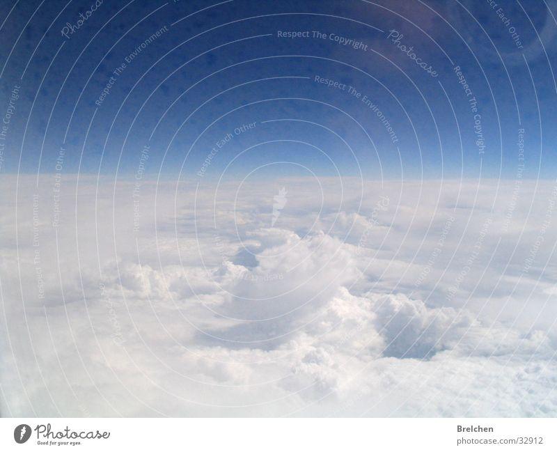 über den Wolken Watte Luft Horizont weiß Himmel Natur Ferne blau