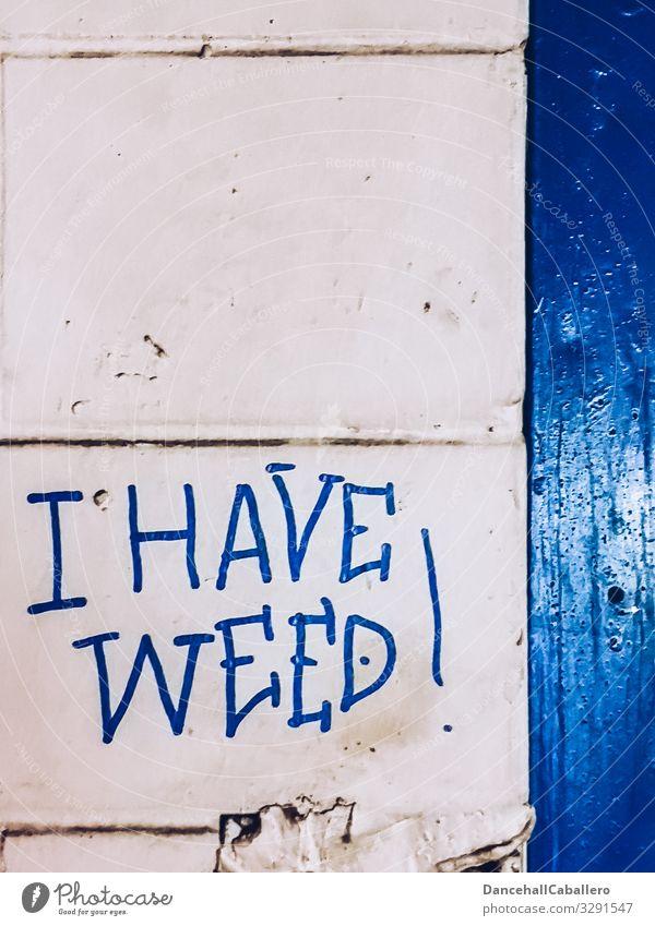 I have weed... blau Stadt weiß Graffiti Wand Gras Mauer Fassade Schriftzeichen Stadtzentrum Rauschmittel verkaufen Sucht Cannabis ungesetzlich Aussage