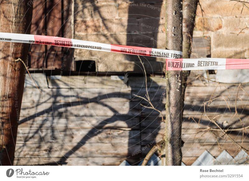 Das Absperrband Haus Mauer Wand Stein Schilder & Markierungen Hinweisschild Warnschild alt kaputt braun planen Barriere Holzfällung Betreten verboten
