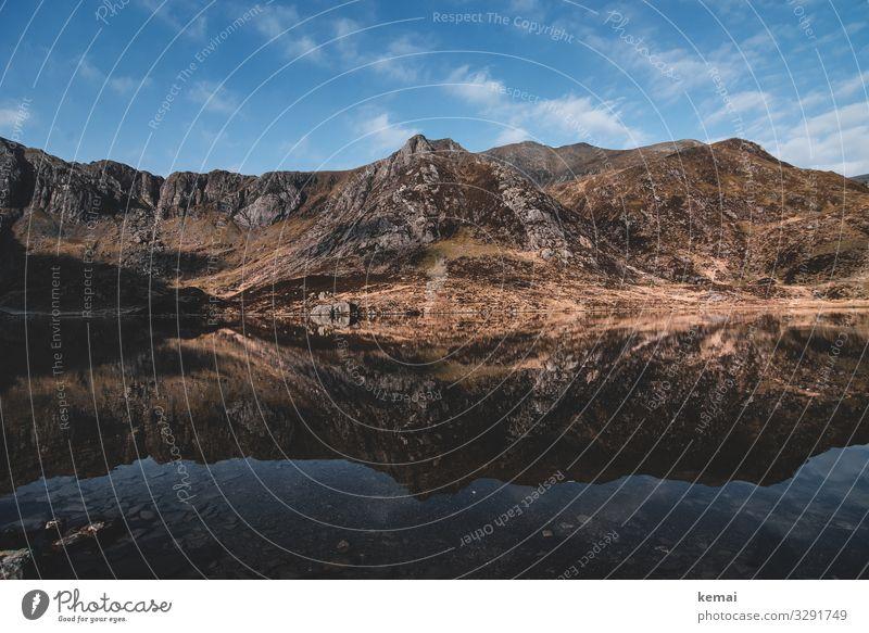 Bergsee in Snowdonia, Wales Berge Gipfel Stein authentisch naturbelassen Natur Naturschönheit wandern menschenleer Einsamkeit See Wolken Himmel Weite Erholung