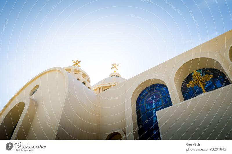 Koptische christliche Kirche in Sharm El Sheikh Ferien & Urlaub & Reisen Sonne Himmel Gebäude Fassade blau gelb Religion & Glaube Asien Christentum Ägypten