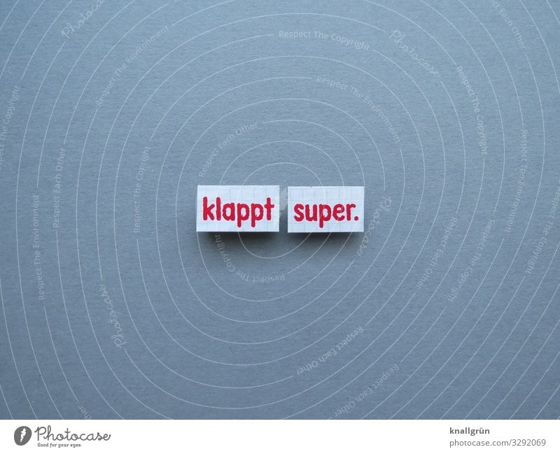 klappt super Zufriedenheit Kommunizieren Buchstaben Wort Satz Kommunikation Typographie Text Schriftzeichen Sprache Lateinisches Alphabet Mitteilung Letter
