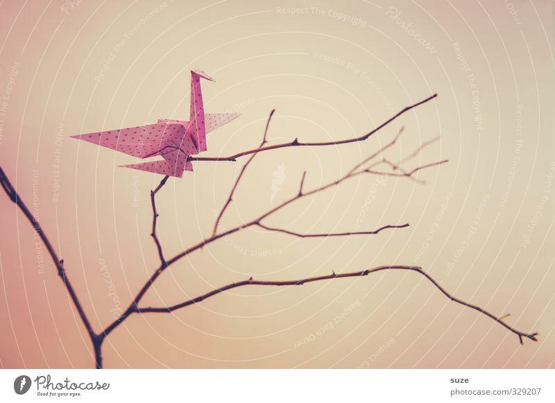 Balance Stil Design Freizeit & Hobby Basteln Dekoration & Verzierung Kunst Vogel Papier fliegen ästhetisch Kitsch klein niedlich rosa Kreativität Ast Zweig