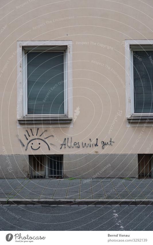 Jahresmotto 2020 Stadt Sonne Fenster Straße Graffiti Wand Gebäude Mauer braun Fassade Lächeln trist gut positiv Verkehrswege Optimismus