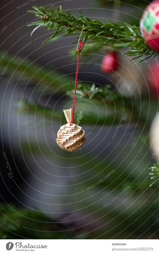 Weihnachtsdeko Strohkugerl Weihnachten & Advent Pflanze schön grün rot Baum Lifestyle Religion & Glaube Feste & Feiern Stil braun Stimmung Zufriedenheit