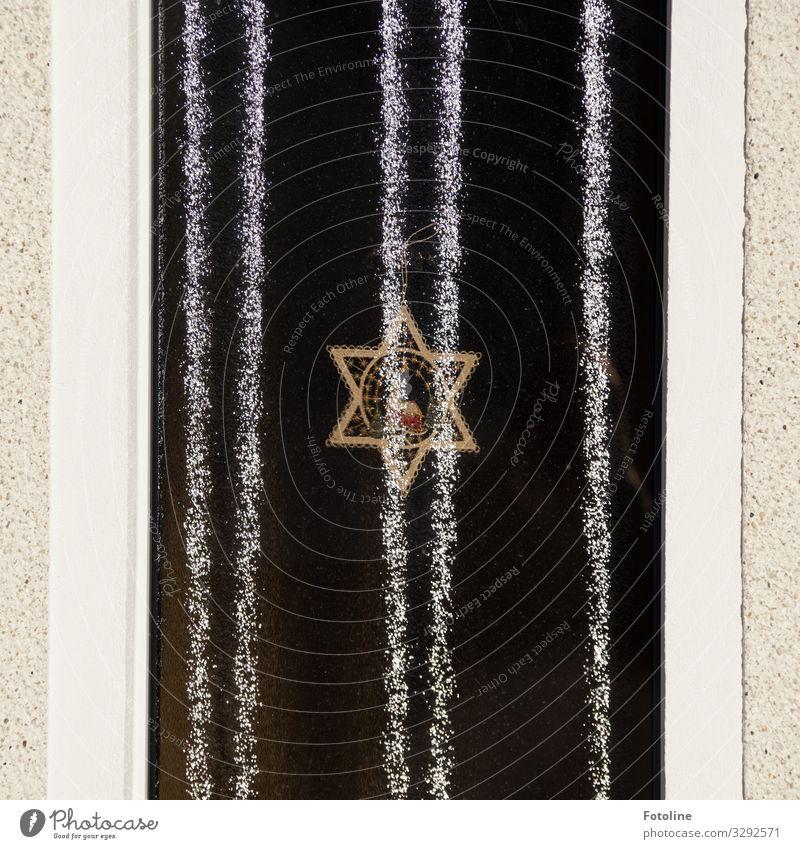 Deko Haus Fenster Stein Glas Kunststoff Zeichen hell nah schwarz weiß Stern Streifen Dekoration & Verzierung Weihnachtsdekoration Farbfoto Gedeckte Farben