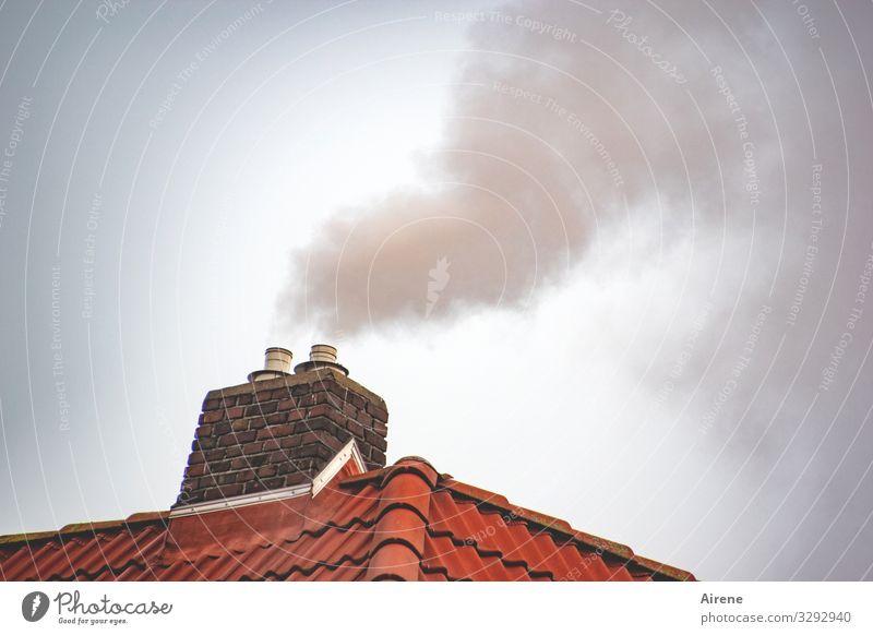 Raucherzone Menschenleer Dach Schornstein Ziegeldach Kamin Abgas Rauchen heiß oben Wärme Warmherzigkeit Umwelt Umweltverschmutzung heizen Energie Farbfoto