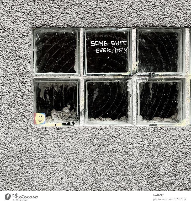 Glasbausteine mit Spruch des Tages Stadt Mauer Wand Fenster Stein Zeichen Schriftzeichen Graffiti bedrohlich dreckig dunkel hässlich trist grau schwarz