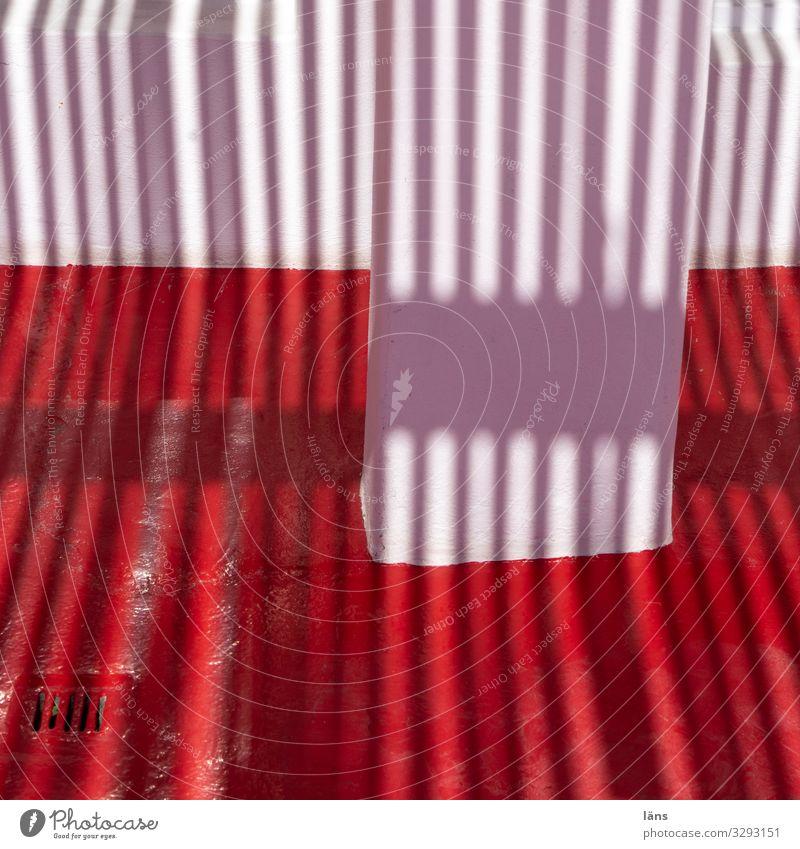 Licht und Schatten weiß rot Haus Wand Wege & Pfade Mauer gestreift Santorin