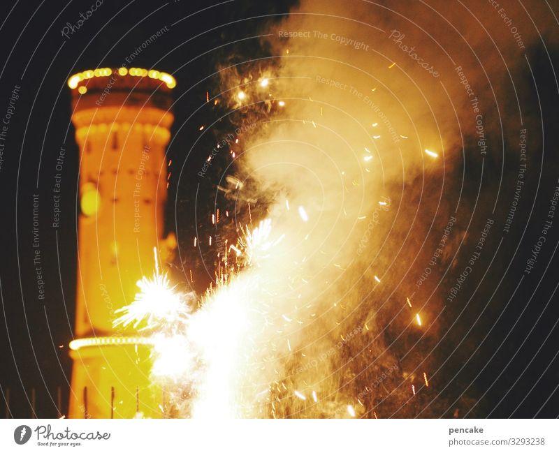 geräusch | lautmalerei Silvester Rakete Knall Feuer Feuerwerk Lindau Bodensee Hafen Funken Leuchtturm Silvester u. Neujahr Außenaufnahme Licht Feste & Feiern