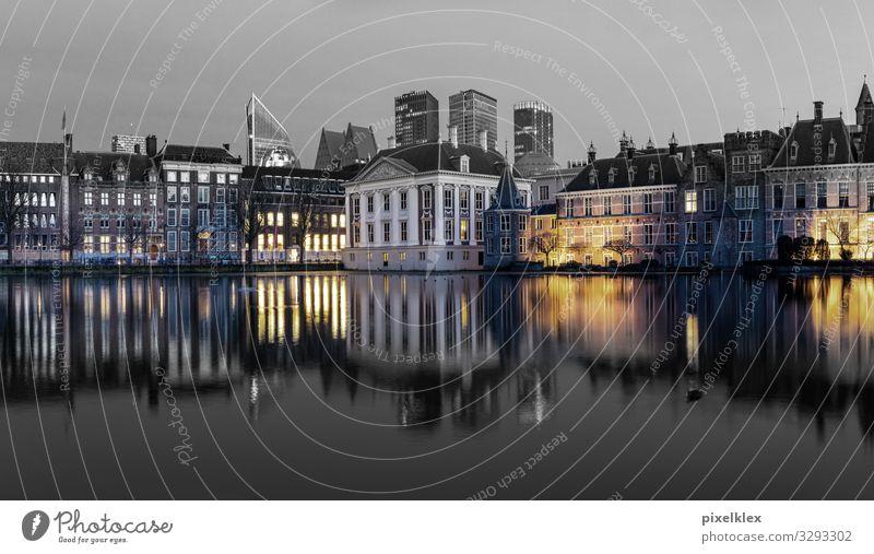 Den Haag (Niederlande) Tourismus Sightseeing Städtereise Nachtleben Wasser Küste Gracht Europa Stadt Hauptstadt Hafenstadt Stadtzentrum Altstadt Skyline Haus