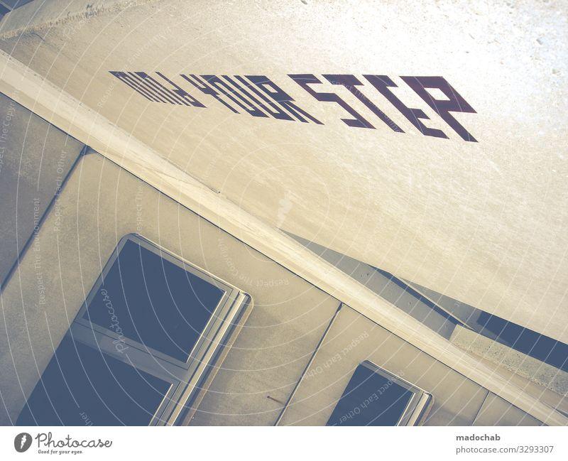 Vorsicht Lifestyle Stil Kunst Hochhaus Bauwerk Gebäude Architektur Fassade Zeichen Schriftzeichen Schilder & Markierungen Hinweisschild Warnschild Graffiti Tod