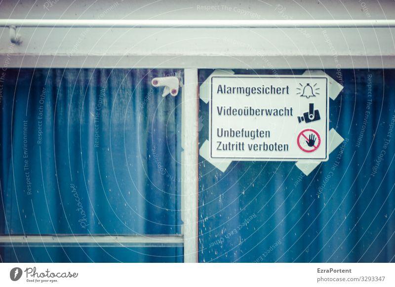 sicher ist sicher Glas Metall Zeichen Schriftzeichen Schilder & Markierungen Hinweisschild Warnschild blau weiß Sicherheit Fenster Gardine Alarm Alarmanlage