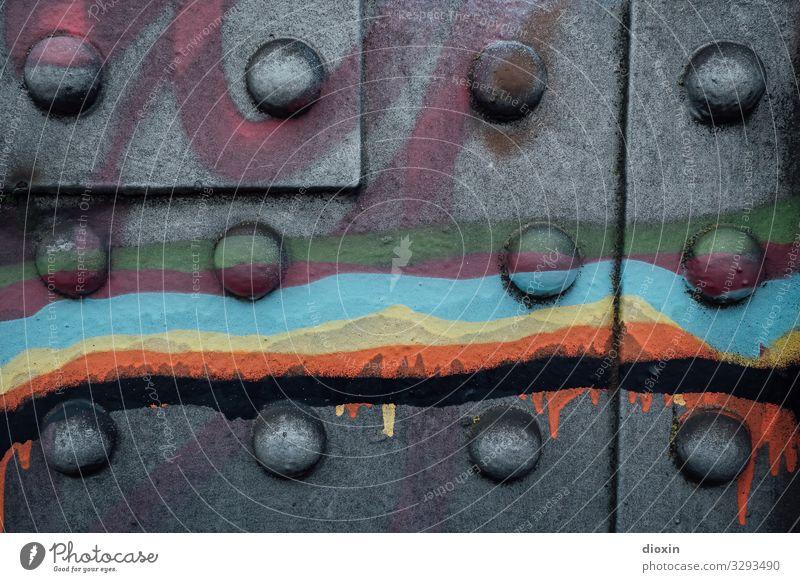 Nietenbild [2] Stahlkonstruktion Kunst Kunstwerk Subkultur Brücke Brückenpfeiler Farbe Lack trashig Stadt mehrfarbig schwarz Graffiti Straßenkunst Farbfoto