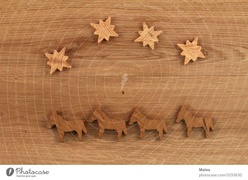 Holzfiguren abstrakt Design Geometrie Isolierung (Material) Modell Dinge Puzzle Spielen Strukturen & Formen Spielzeug braun Stern (Symbol) Pferd Sperrholz Figur