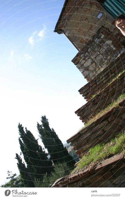 Stufenterasse Gras Baum Italien Toskana Haus Architektur Terasse Himmel Treppe