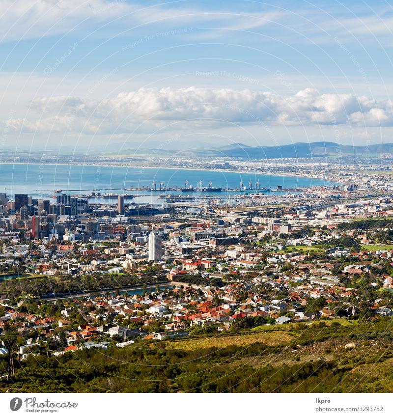 in südafrika stadt skyline vom berg Ferien & Urlaub & Reisen Meer Berge u. Gebirge Tisch Natur Landschaft Himmel Wolken Hügel Stadt Stadtzentrum Skyline