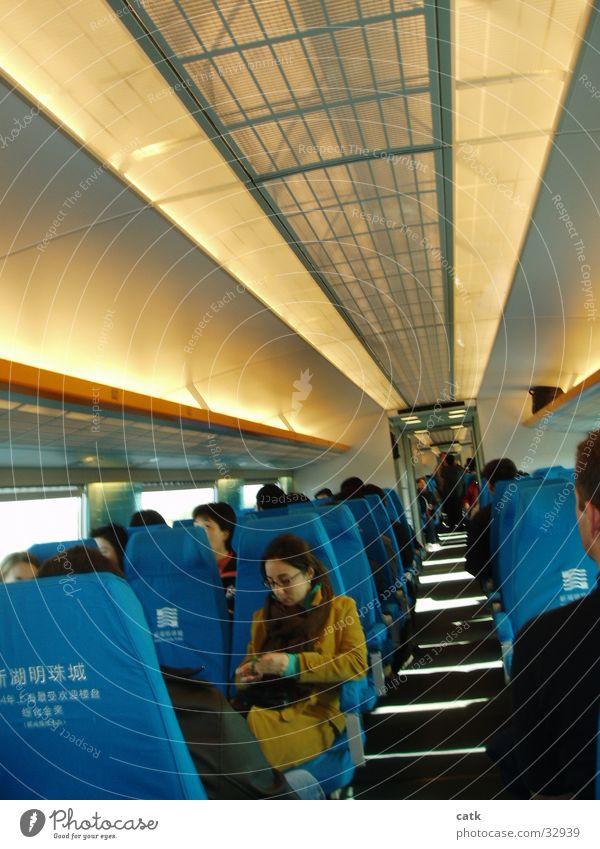 Transrapid Magnetschwebebahn Shanghai Asien China High-Tech Verkehr Bahnhof Eisenbahn Fahrgastraum Maglev Sitzgelegenheit railway seats modern cabin fast Gang