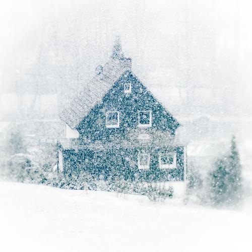 Bitte, keinen Schnee! weiß Winter Haus Umwelt Fenster kalt Schneefall Wetter Sträucher Dach viele fallen Unendlichkeit durcheinander eng