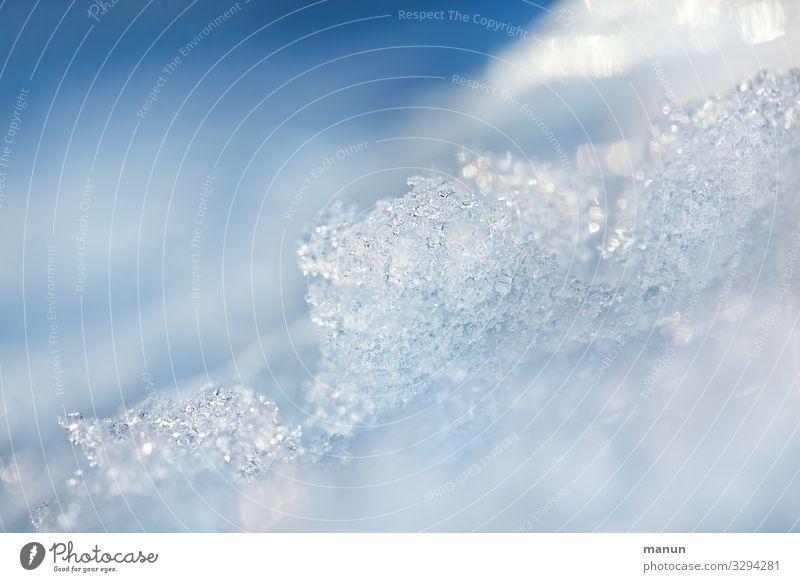 eiskalter Schnee Natur blau weiß Winter natürlich frisch Eis glänzend authentisch Klima Sauberkeit Frost frieren