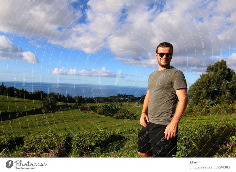 Tea-Man Freude Ferien & Urlaub & Reisen Ferne wandern maskulin Mann Erwachsene Leben 1 Mensch 18-30 Jahre Jugendliche 30-45 Jahre Landschaft Schönes Wetter