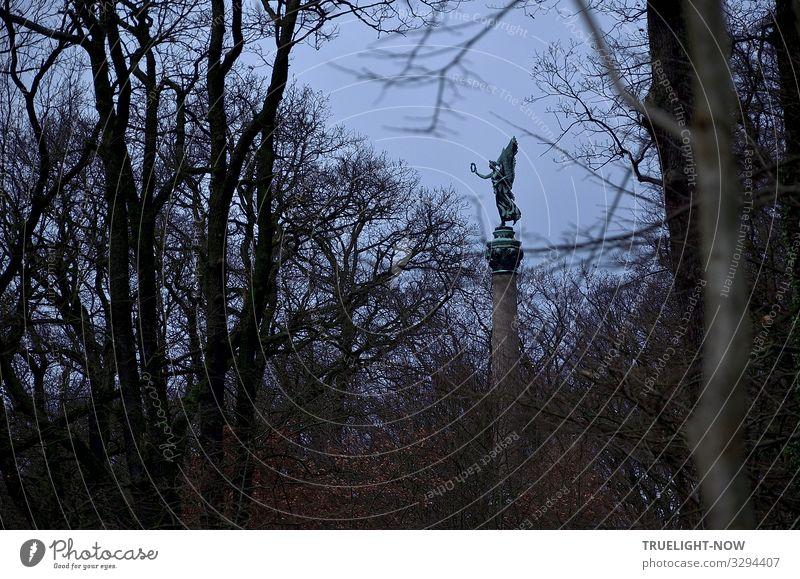 weitsichtig | siegen... Kunstwerk Skulptur Denkmal Umwelt Natur Luft Himmel Herbst Winter Baum Sträucher Park Wald Hügel Gipfel groß Tapferkeit Entschlossenheit