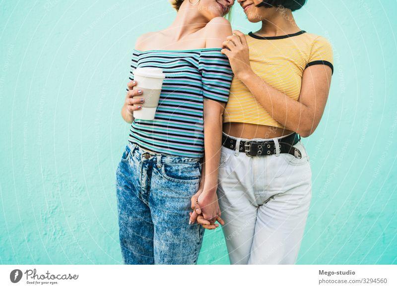 Liebendes lesbisches Paar, das eine gute Zeit miteinander verbringt, Lifestyle Glück Leben Freizeit & Hobby Freiheit Homosexualität Frau Erwachsene Umarmen