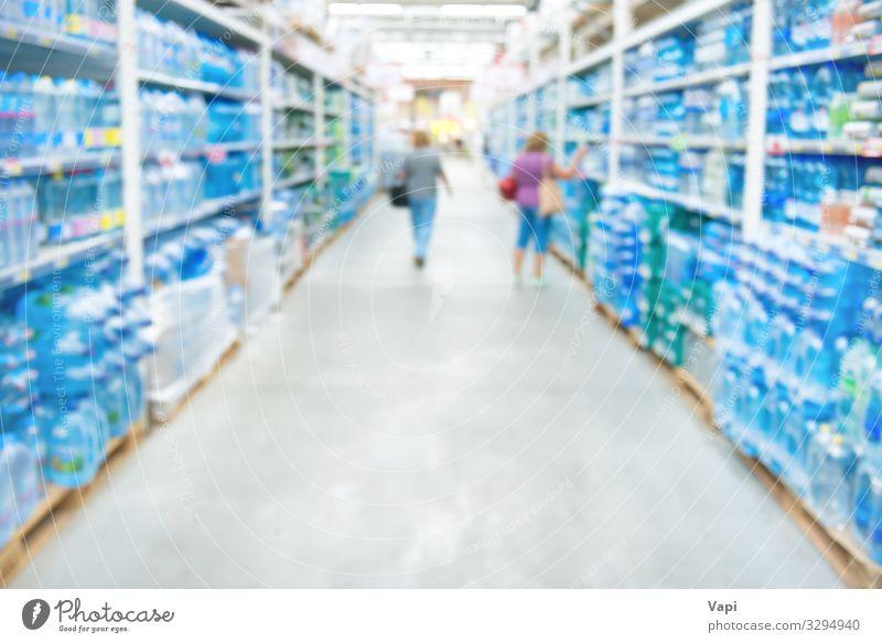 Marktgeschäft und Supermarktinterieur Lebensmittel Getränk Erfrischungsgetränk Trinkwasser Flasche Glas Lifestyle kaufen Arbeit & Erwerbstätigkeit Arbeitsplatz