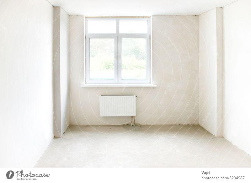 Weißes Zimmer mit Fenster Reichtum elegant Stil Design Haus Baustelle Industrie Kunst Gebäude Architektur Mauer Wand Balkon Beton modern neu Sauberkeit gelb