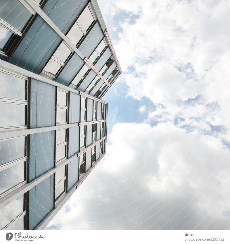Halswirbelsäulentraining (32) Himmel Wolken Schönes Wetter Berlin Hochhaus Bauwerk Architektur Mauer Wand Fassade Stein Beton Glas Linie Streifen eckig hoch