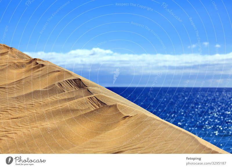 Maspalomas schön Ferien & Urlaub & Reisen Tourismus Ausflug Sommer Sonne Strand Meer Insel Wellen Natur Landschaft Sand Wasser Wolken Wetter Wind Wüste