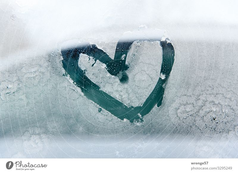 Ein bisschen Wärme am Morgen Glas Zeichen Herz Glück Frühlingsgefühle Liebe herzlich Frost Eis Winter kalt Glasscheibe Fensterscheibe Farbfoto Gedeckte Farben