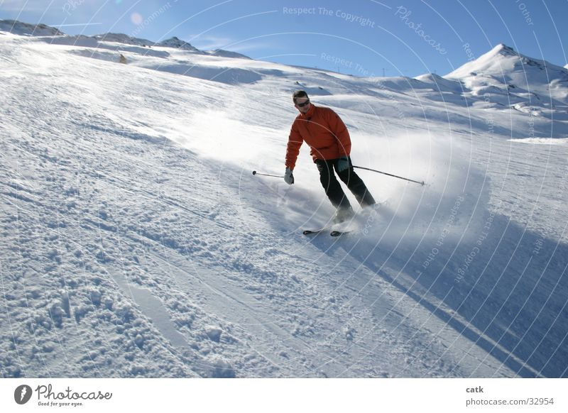 Ski-Schwung Sport Schnee Berge u. Gebirge Skifahren Schweiz Skifahrer