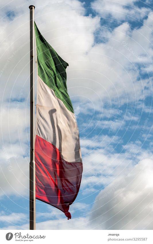 Trikolore Flagge Italien Himmel Wolken Politik & Staat Symbole & Metaphern wehen Fahnenmast Freiheit