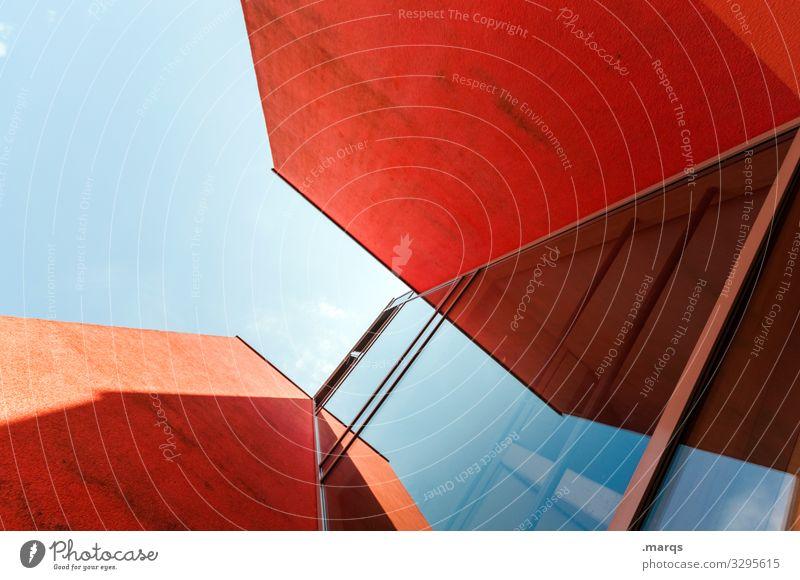 Architektutorial elegant Stil Design Wolkenloser Himmel Gebäude Architektur Beton Glas ästhetisch eckig modern blau rot Farbe Perspektive Zukunft Farbfoto